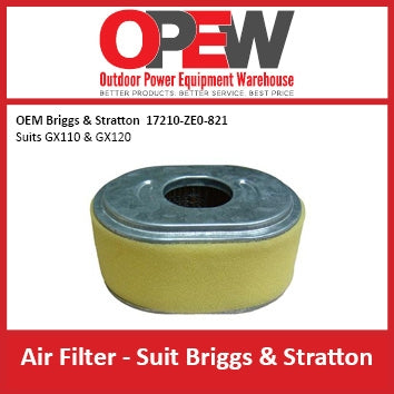New Lawn Mower Air Filter Briggs & Stratton AIR-1322 OEM 17210-ZE0-821 suits GX110 & GX120
