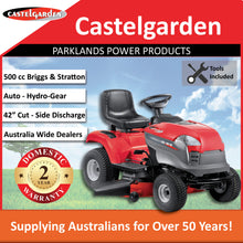 "Load image into Gallery viewer, New Castelgarden XDL190HD 42"" 500cc Side Discharge Ride On Mower 