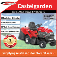 "Load image into Gallery viewer, New Castelgarden XDC140HD 33"" 344cc Rear Discharge Ride On Mower 