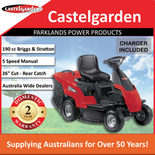 "Load image into Gallery viewer, New Castelgarden XE866B 26"" 190cc Rear Discharge Ride On Mower 