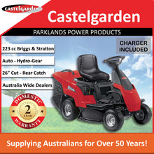 "Load image into Gallery viewer, New Castelgarden XE966B 26"" 223cc Rear Discharge Ride On Mower 