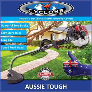 New Cyclone 26cc Bent Shaft Brushcutter / Trimmer with a Speed Feed Head