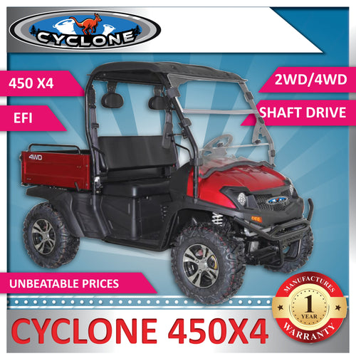 New Cyclone 450 X4 Extra Large Body 2WD/4WD - Utility Vehicle includes Windscreen, Roof and Alloy Wheels & Digital Display UTV