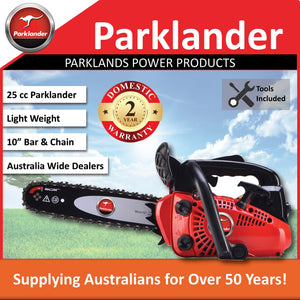 "New Parklander PSW-2500S Top Handle 25cc  12"" Bar & Chain pruning saw"