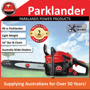 "New Parklander PSW-4116H 40cc 16"" Bar & Chain rear handle saw 2 Yr Warranty"