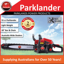 "Load image into Gallery viewer, New Parklander PSW-5520E 55cc 20"" Bar & Chain  Rear Handle saw 2 Yr Warranty"