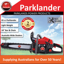 "Load image into Gallery viewer, New Parklander PSW-6524 65cc 24"" Bar & Chain  Rear Handle saw 2 Yr Warranty"