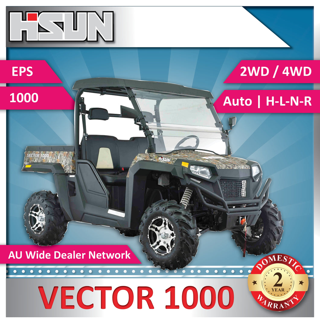 New Hisun 1000 Vector Utility Vehicle 1000cc H-L-N-R 2/4WD, Winch, Roof, W-Screen