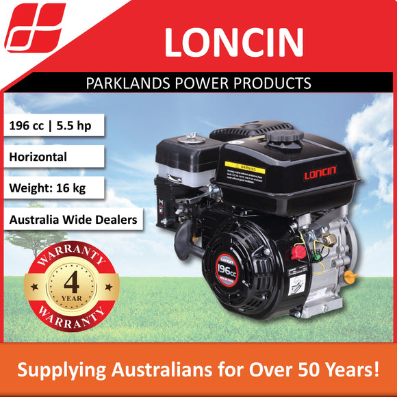 New Loncin G200F 5.5 Hp 196cc Horizontal Shaft Engine | 4 Year Warranty