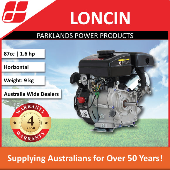 New Loncin LC154F-1 1.6 Hp 87cc Horizontal Shaft Engine | 4 Year Warranty