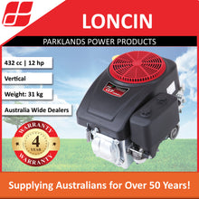 Load image into Gallery viewer, New Loncin LC1P90F-1 12 Hp 432cc Ride On Mower Engine | 4 Year Warranty