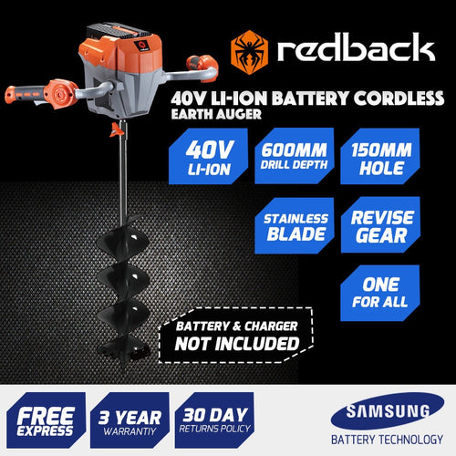 New RB-AUG Redback 40V Cordless Auger / Mixer with Auger Bit Included 6Ah Battery & Charger