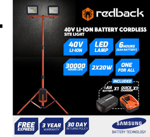 Redback 20Wx2 Led Outdoor Tripod Stand Floodlight With 6AH Battery,5ACharger