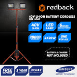 New RB-LT Redback 40V Cordless Work Light 2 X 20 watt 2000LM 2Ah Battery & Charger