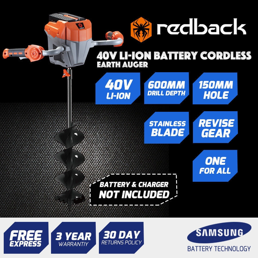 New RB-AUG Redback 40V Cordless Auger / Mixer with Auger Bit Included 4Ah Battery & Charger