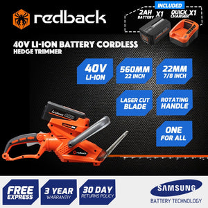 New RB-HT Redback 40V Cordless Hedgetrimmer with rear swivel handle Includes 2 Ah Battery & Charger