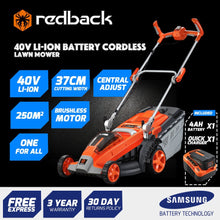 "Load image into Gallery viewer, New RB-MWR Redback 40V 15"" Cordless Push Lawn Mower Includes 4 Ah Battery & Charger"