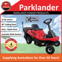 "Load image into Gallery viewer, New Parklander 309029X92H 30"" Mid-Mount Ride On Lawn Mower - Auto HydroGear"