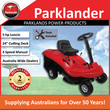 "Load image into Gallery viewer, New Parklander MT06524 24"" Cut 196cc Mid-Mount Ride On Lawn Mower w Catcher"