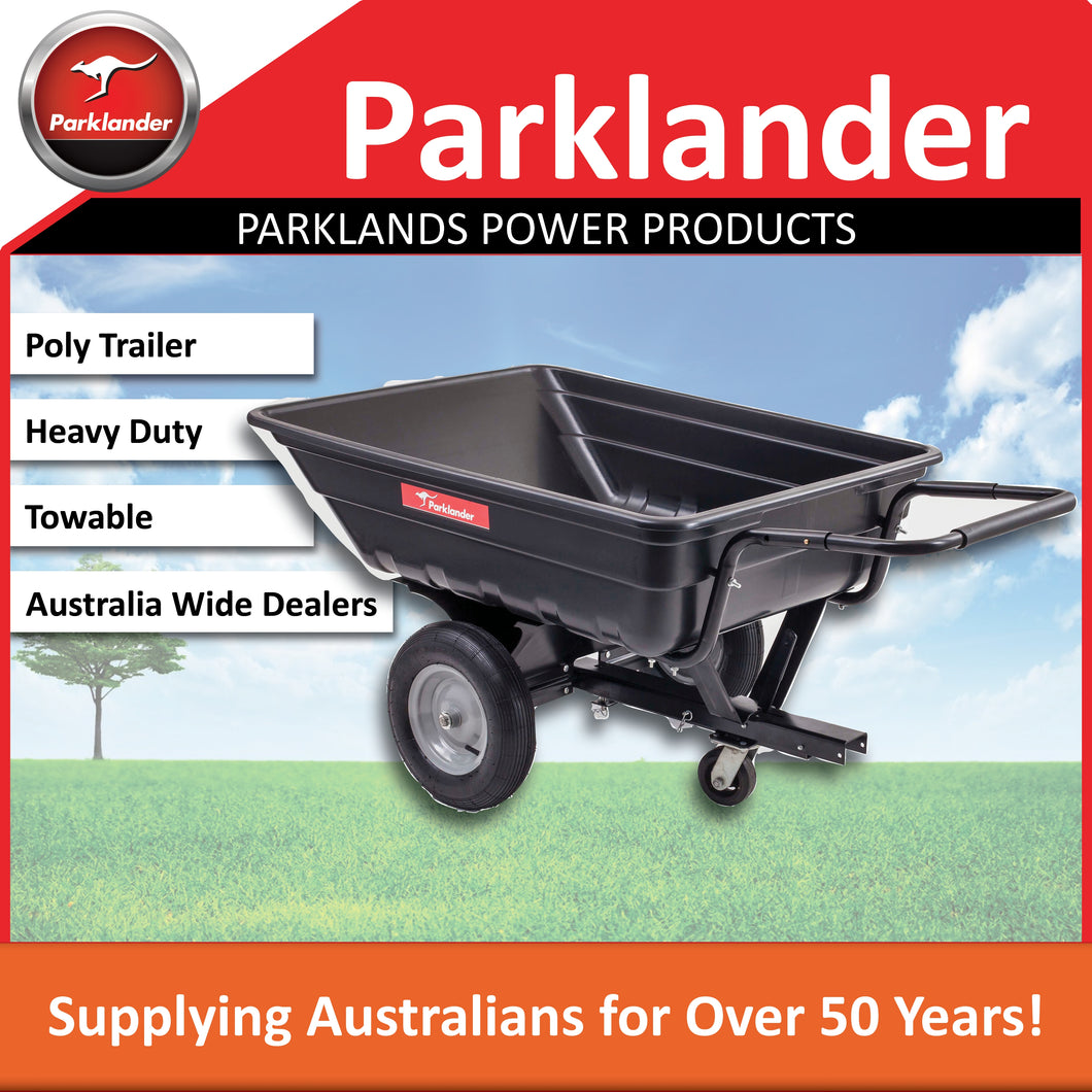 New Parklander Poly Trailer TC3080PL with tilt capability, tow behind Mower