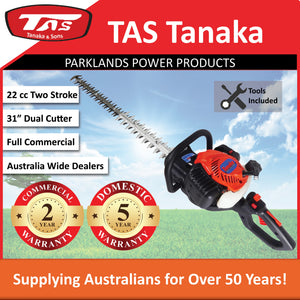 "New Tanaka TCH-22EC2 22cc 31"" Hedgetrimmer with 180 degree rear swivel handle"
