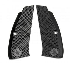 CZ 75 Full Size Grips Aluminum BLACK Thin Aggressive Checker
