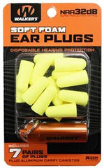 7 PAIRS NEON YELLOW FOAM PLUG W/ ORANGE ALUMINUM CARRY CANISTER
