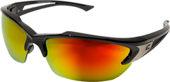 Edge Khor Safety Glasses with Black Frame and Aqua Precision Red Mirror Lens