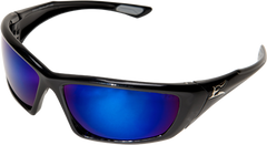 Edge Robson Safety Glasses with Black Frame and Polarized Aqua Precision Blue Mirror Lens
