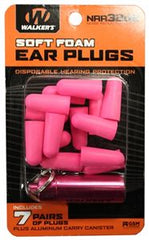 7 PAIRS NEON PINK FOAM PLUG W/ PINK ALUMINUM CARRY CANISTER