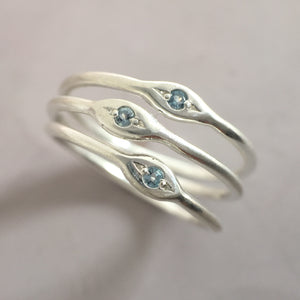 Aquamarine Stacking Ring Set in Sterling Silver