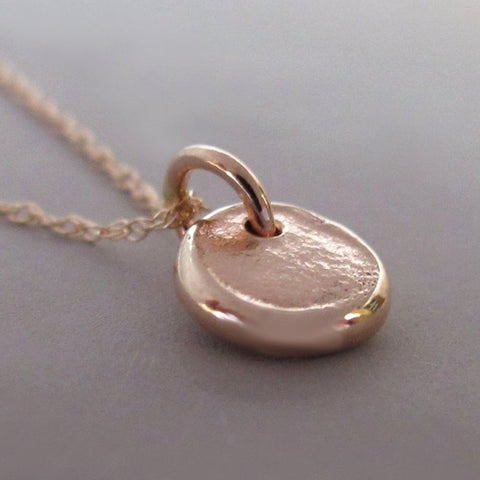 Tiny 14k Rose Gold Pebble Necklace (Customized with a Symbol or Letter)