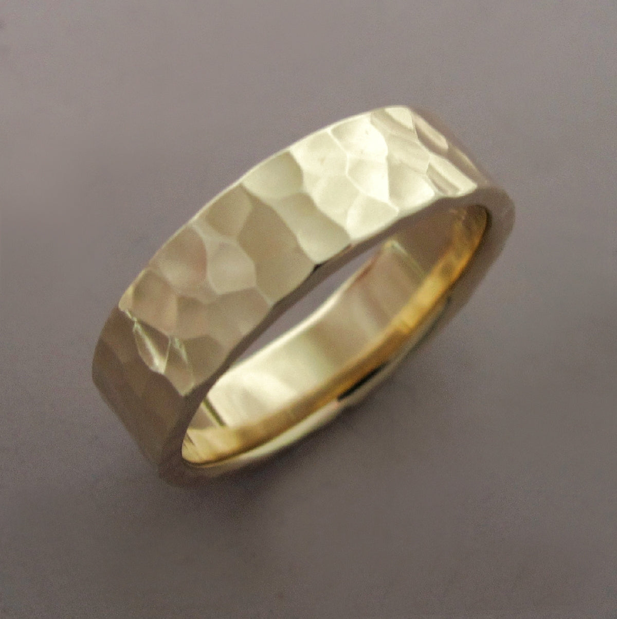 Hand Hammered Recycled Gold Ring in 14k Yellow Gold Choose a Width