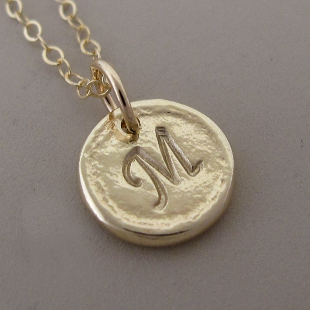 Tiny 14k Yellow Gold Pebble Necklace (Customized with a Symbol or Letter)