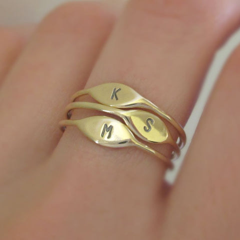 14k Gold Tiny Personalized Initial Stacking Ring