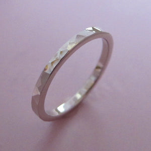 Hand Hammered Recycled Gold Ring in 14k Palladium White Gold - Choose a Width - Polished or Matte Finish