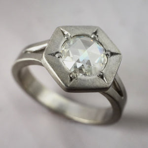 Rose Cut Moissanite Hexagonal Engagement Ring in 14k Palladium White Gold