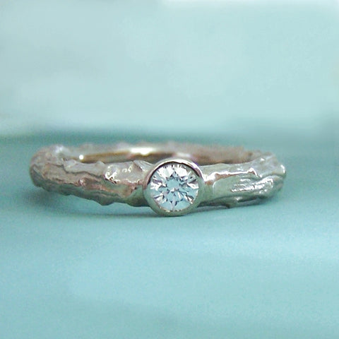 Twig Diamond Engagement Ring - Recycled 14k Palladium White Gold - Pine Branch