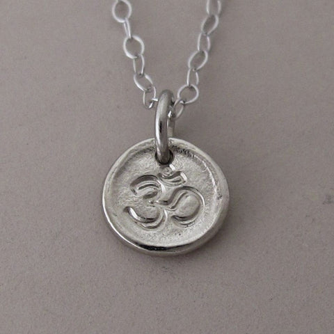 Tiny 14k White Gold Pebble Necklace (Customized with a Symbol or Letter)