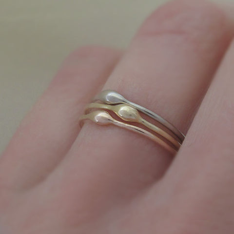 14k Gold Stacking Ring - Rain