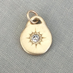 14k Gold Star Necklace with Rose Cut Moissanite or Diamond