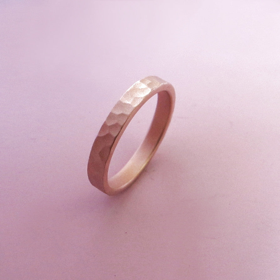 Hand Hammered Recycled Gold Ring in 14k Rose Gold - Choose a Width - Polished or Matte Finish