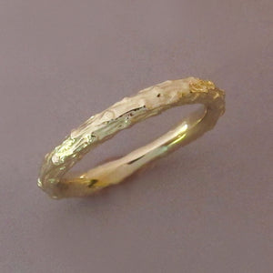 Twig Wedding Ring - Narrow Pine Branch - 14k Rose Gold or 14k Yellow Gold