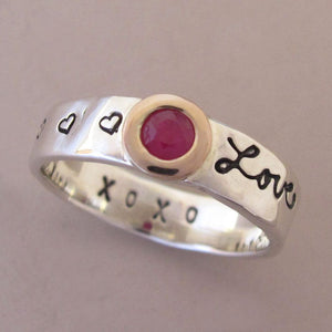 Message of Love Ring in 14k Rose Gold, Ruby and Sterling Silver