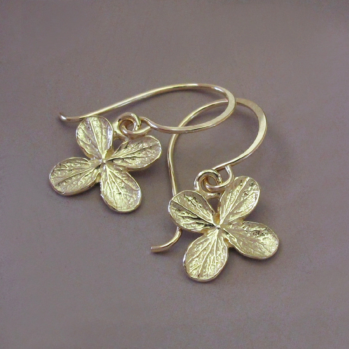 Hydrangea Flower Earrings in 14k Yellow Gold