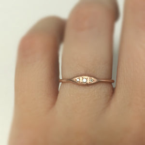 Tiny Three Stone Bead Set Stacking Ring in Moissanite or Diamond and Sterling Silver or 14k Gold