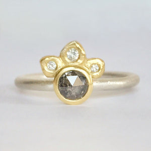 Salt and Pepper Diamond Ring with 18k Gold, Sterling Silver and Moissanite, Half Halo Ring, Crown Ring