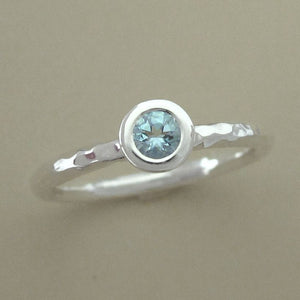 Aquamarine and Sterling Silver Hand Hammered Stacking Ring - 3.5 mm