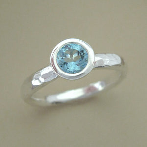 Aquamarine and Sterling Silver Hand Hammered Ring - 5 mm