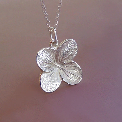 Sterling Silver Flower Necklace - Hydrangea - Bright Finish